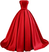 Dymaisei Women's Strapless Ball Gown Satin Prom Dresses 2019 Long Evening Formal Dresses