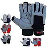 MRX BOXING & FITNESS Sailing Gloves with 3/4 Finger and Grip for Men and Women, Great for Kayaking, Workouts and More Grey/Black