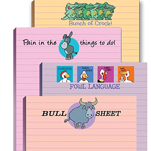 Funny Adult Note Pad Assorted Pack - 4 Novelty Notepads - Funny Office Supplies (4)