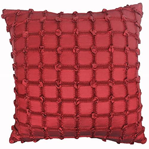 BEPM Cojines para Sofa Fundas De Cojín Fundas De Cojines Red Imitación Satinado Festivo Vino Rojo Almohada Hecha A Mano Sofá Inclinado En La Decoración De La Almohada