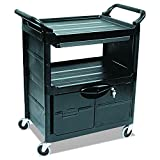 Rubbermaid Commercial Plastic Service and Utility Cart with Cabinet and Sliding Drawer, Bl...