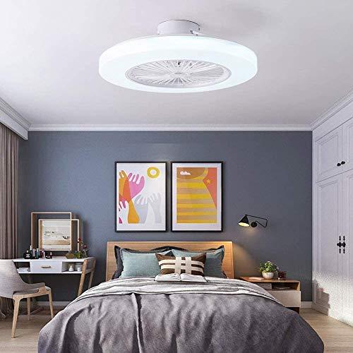 WUAZ 23-Zoll-Deckenventilator Mit Beleuchtung, Fernbedienung LED 3 Farbe Beleuchtung Modi 3-Gang Windgeschwindigkeit Halb Erröten-Einfassung Unsichtbare Klingen Enclosed Low Profile Fan