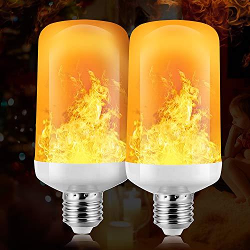 Flamme Glühbirne, 4W E27 Base Flammen Lampe, 4 Beleuchtungsmodi dekorative Atmosphäre Lampen für Halloween, Weihnachten, Haus, Restaurants, Bar Party und so weiter (Gelb, 2 PCS)