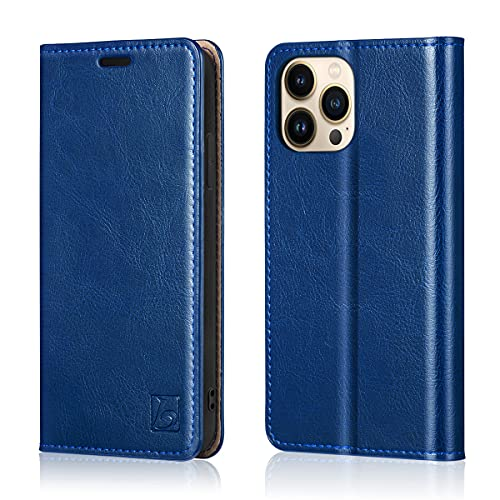 Belemay Compatible with iPhone 13 Pro Max Case Wallet, Protective Genuine Leather Flip with RFID Blocking Card Holders [Undetachable Interior Shell] Folio Cover for Men Women (6.7-inch 2021) Blue