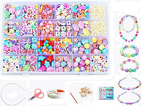 Jewellery Making Kit- Beads Set for Kids Adults Children Craft DIY Necklace Bracelets Letter Alphabet Colorful Acrylic Crafting Beads Kit Box with Accessories (color 6#)