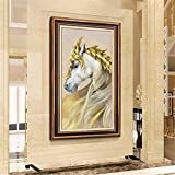 DIY Diamond Painting Kits Talla Grande,Caballo Blanco Dorado Pintura de Diamante 5D Completo Set Crystal Rhinestone bordado de punto de cruz artes for Home Wall Decor Gifts Round Drill-36x72in