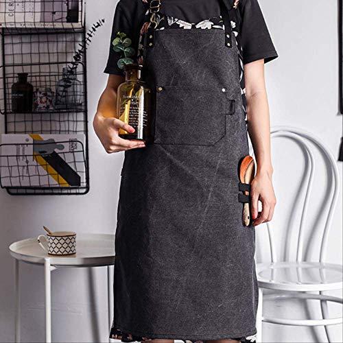 mhde Aprons Canvas Schort Barista Barman Baker Chef Catering Uniform Bloemist Timmerman Tattoo Artiest Schilder Tuinman Werkkleding B DARK GRIJS