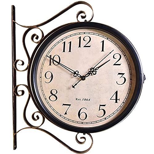 Pc-HXG Reloj Pared Jardín Al Aire Libre,Reloj Pared Doble Cara Vintage Hierro Forjado 8 Pulgadas Rotación 360°Decoración Impermeable Reloj Exterior,para Sala Estar Jardín