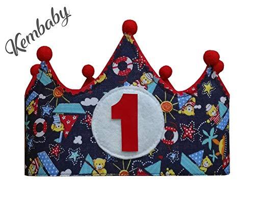 Kembilove Corona Cumpleaños Bebe – Corona Tela Cumpleaños – Corona Cumpleaños Infantil – Corona Primer Cumpleaños – Corona Niño y Niña – Corona colores numero 1