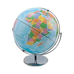 12-inch political world globe with blue oceans is perfect for the home or classroom Shows natural coloration of the earth to illustrate mountains, deserts, forests, and grasslands Features blue oceans show undersea physical features and raised relief...