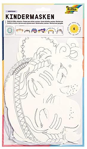 folia 23219 - Kindermasken Abenteuer, aus Pappe, Motive sortiert, 6 Stück, weiß, zum selbst Bemalen und Gestalten, für Kinder, Jungen und Mädchen, ideal für Kindergeburtstage und Partys