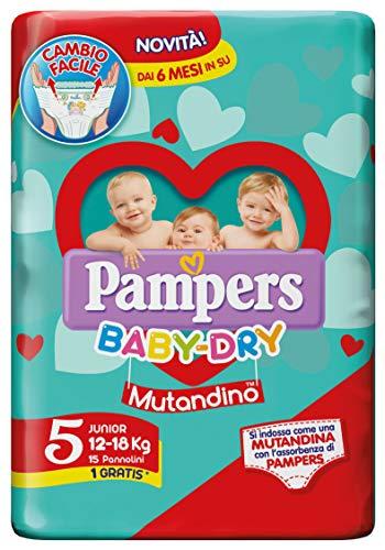 pampers bebé dry él incluso dejar tg 5 junior 12-18 15-36 kg 15 pannolini