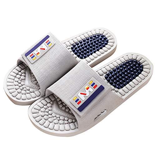 Zapatillas de Estar por Casa, Zapatillas De Ducha Mejoradas Antideslizantes para Hombre, Zapatos De Acupresión para El Hogar, Sandalias Cómodas para Jardín Inte(Color:Gris,Size:26.5~27cm/43~44)