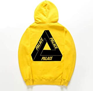 Sweatshirts Europe and The United States Autumn Men's Triangle Print Pullover, Men's Long-Sleeved Drawstring Hooded Sweatshirt (Color : Yellow, Size : L)