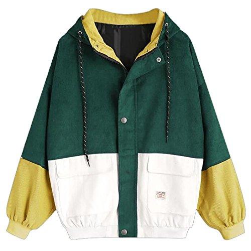 NPRADLA 2018 Herbst Winter Damen Windbreaker Jacke Langarm Frauen Jacke Mantel Cord Große Größen (L, Grün)