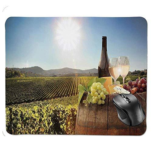 Muiskussen, witte wijn met vat op beroemde wijngaard in Chianti Toscane Landbouw decoratieve muismat