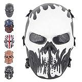 Coolgun Máscara de Airsoft de cara completa con malla de metal para...