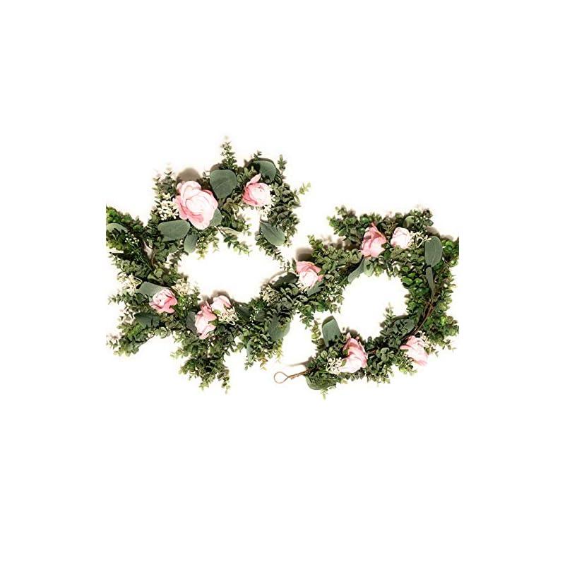 silk flower arrangements 6 ft artificial eucalyptus garland with pink roses silk flower garland eucalyptus leaves greenery garland vines wedding arch decoration hanging flower garland decor faux flora