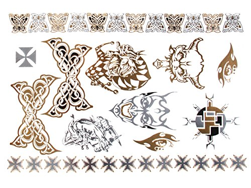 Chic-Net Tattoo golden silbern temporär Motivbogen Klebetattoos Skull Joker Schmuck Tattoos