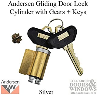 Andersen Frenchwood Gliding Door - Lock Cylinder w/Gears and Keys - Reachout - No Tail - Silver