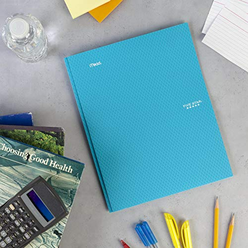 """Five Star 2-Pocket Folder, Stay-Put Folder, Plastic Colored Folders with Pockets & Prong Fasteners for 3-Ring Binders, For Home School Supplies & Home Office, 11"""" x 8-1/2"""", Teal (72107) Photo #5"""