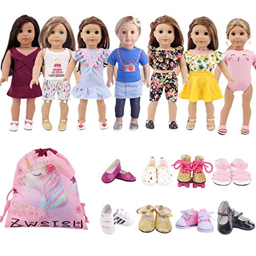 ZWSISU 18 inch Doll Clothes Gift Girls - Include 7 Set Toys Doll Outfits + 2 Pairs Shoes Accessories Gift Box fit American 18 inch Girl Dolls