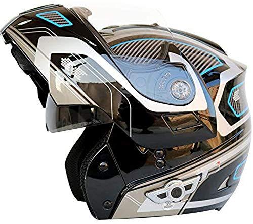 QBAMTX Casco Bluetooth Motocicleta, Completo Modular con Visera Solar Doble Tipo abatible, Casco Certificado por Dot, Sistema de comunicación de intercomunicación Integrado de transmisión FM MP3 i