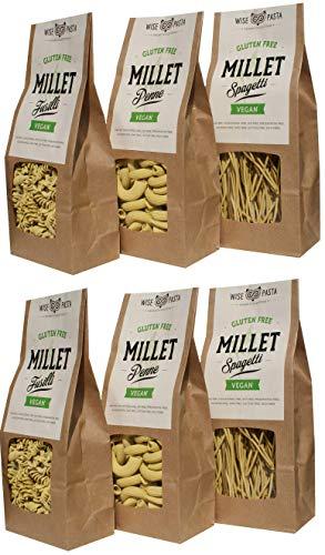Wise Pasta Wise Pasta Vegan Glutenfreie natürliche Hirse Tagliatelle Pasta 200 g, Packung mit 4, (4er Pack)