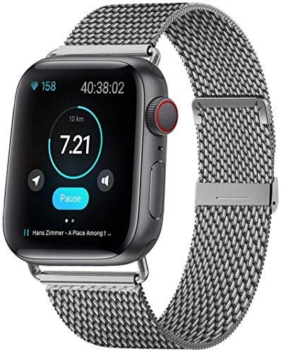 MouKou - Cinturino per Apple Watch Serie 5/4/3/2/1, 38 mm, 40 mm, 42 mm, 44 mm, Maglia milanese con Chiusura Magnetica, Cinturino di Ricambio in Acciaio Inox, Grigio-Nuovo, 44MM/42MM