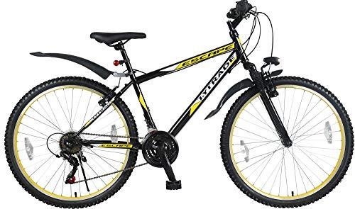 T 26 Zoll Kinder Jugend Mädchen Herren Jungen MTB Fahrrad Mountainbike FEDERGABEL JUGENDFAHRRAD KINDERFAHRRAD Bike Rad 21 Gang Escape Schwarz Gelb TYT19-025