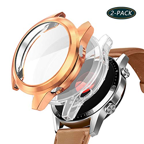 Jvchengxi Case voor HUAWEI Watch GT 2 Screenprotector (46 mm), TPU Soft Protective Bumper Cover voor HUAWEI Watch GT 2 Smartwatch (Rose goud/Transparant)