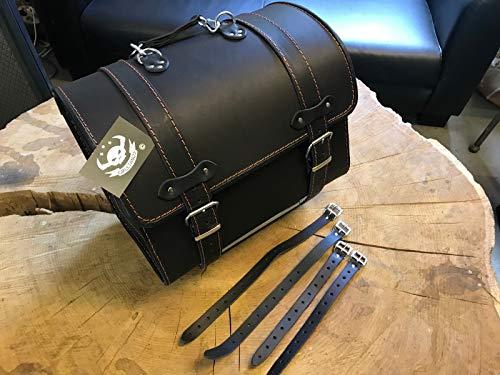 ORLETANOS Loki Black & ORANGE Gepäckkoffer kompatibel mit Sissybar von Orletanos Harley Davidson Gepäck Träger Rolle Gepäckträger Satteltasche HD Koffer