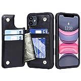 Migeec Cover per iPhone 11 - Custodia a Portafoglio con Tasche Premium in Ecopelle [Antiurto] Cover Posteriore Flip per iPhone 11 da 6,1 Pollici, Nero