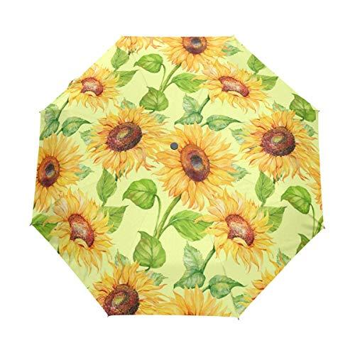 Kompakter Reise-Regenschirm mit Sonnenblumenmuster, UV-Schutz, wasserdicht, automatisches Öffnen