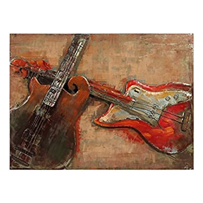 Empire Art Direct Acustica Mixed Media Hand Painted Iron Wall Sculpture by