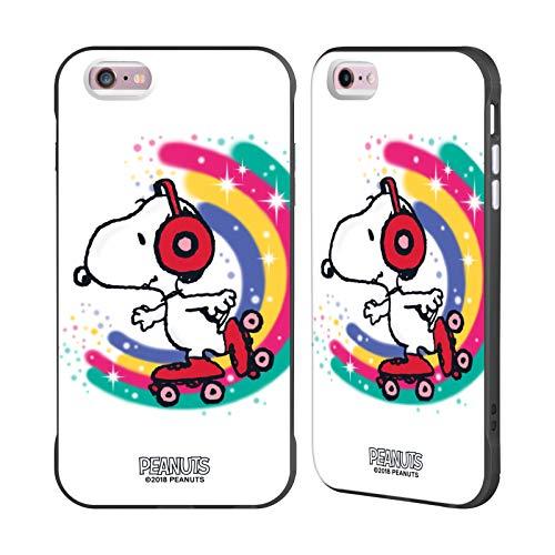 Head Case Designs Ufficiale Peanuts Skating Colorato Snoopy Passeggiata Aerografata Cover Fender Nera Compatibile con Apple iPhone 6 Plus/iPhone 6s Plus