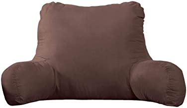 Backrest Pillow – Large Firmly Stuffed Sitting Support Bed Pillow with Arms for Comfort while Reading & Relaxing –Foam filled for Adults, Teens and Kids- Chocolate Brown