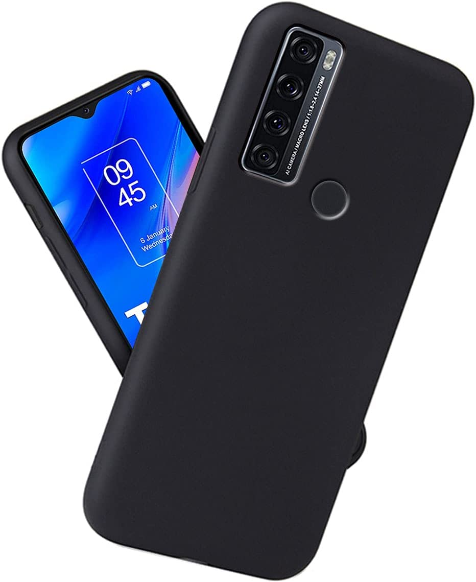YDGCMJ Compatible with for TCL 20 SE Case Black Thin Soft Silicone Shockproof Full Body Protective Bumper, Black Phone Case Cover for TCL 20 SE (6.82