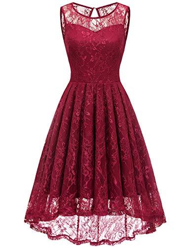 Gardenwed Vokuhila Spitzenkleid Ballkleider Elegant Hochzeitskleid 1950er Vintage Spitze Brautkleid Abendkleider Dark Red M
