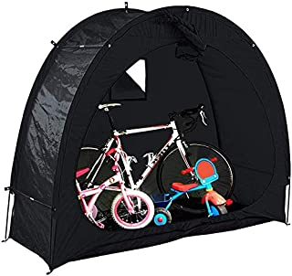 QCSTORE 自転車置き場 サイクルハウス 1-2台用 自転車簡易ガレージ UVカット 遮熱 耐水加工 取り付け簡単 サイクルパーキング 自転車収納 屋外 雨よけ 雨除け ホコリ 収納庫 ガレージ サイクルポート 200 * 88 * 165cm