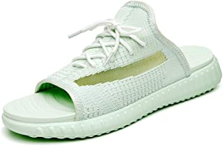 LFSP Classic Popular Sandals Beach Shoes Summer Casual Slipper for Men Flat Beach Water Shoes Lace up Breathable Knit Mesh Fabric Antislip Durable Outsole (Color : Green, Size : 7 UK)