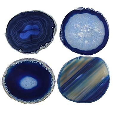 Natural Sliced Dyed Agate Coaster with Rubber Bumper Set of 4 (Q.1 Blue, 3-3.5)