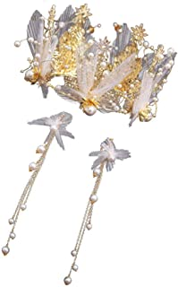 YNYA Tiare Bridal Crown Headband Headdress Earrings Set Wedding Headwear Crown Dress Accessori Wedding Accessori per Capel...