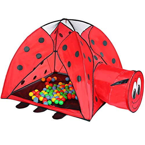 Kindertent, Indoor Tunnel Beetle Cartoon Game House, Ballenbad Klamboe Kinderen Opvouwbaar Playhouse Play, Tunnel Ladybird Pattern Kid Toy Play House Tent Indoor Outdoor Cubby Hut Games Gift