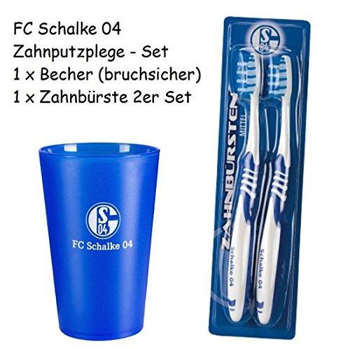 FC Schalke 04 Zahnpflege Set / Zahnbürste 2er Pack / 1 x Zahnputzbecher S04