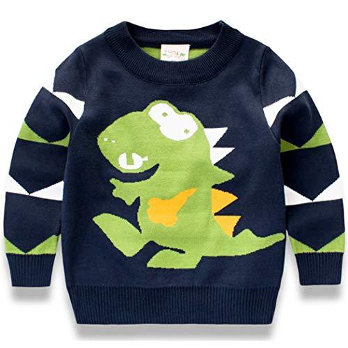 EULLA Kinder Sweatshirt Jungen Sweater Dinosaurier Baumwolle Pullover Pulli 92 98 104 110 116 122 (Blau, 92)