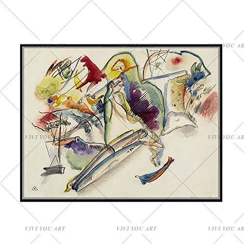PVZADEW Cuadro en acrílico 100% Pintado a Mano Wassily Kandinsky geométrico Abstracto Lienzo Pintura al óleo Arte Pared Cuadros para Sala de Estar decoración del hogar 60x90 cm