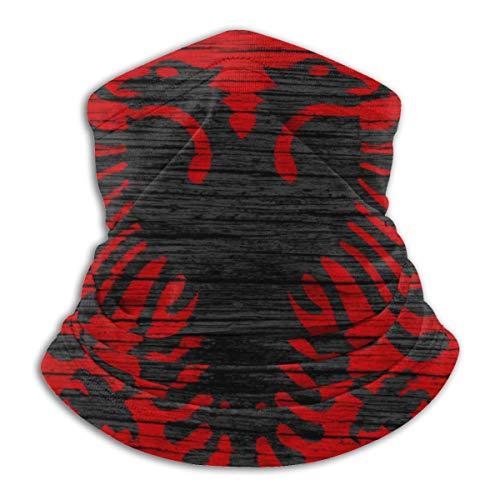 Calentador de Cuello de Microfibra Unisex Bandera de Albania Europa Textura de Madera Pasamontañas Sombreros Bufanda para Polvo Viento Protección Solar