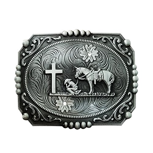 QUKE American Western Celtic Cross Horseman Horse Rhinestone Religious Belt Buckle