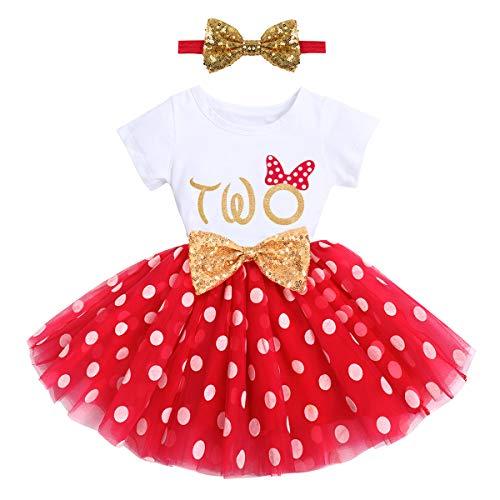 FYMNSI - Vestido de princesa de manga corta para niñas, para primer cumpleaños o para fiesta de 1 a 2 años, para el primer aniversario o para la noche de la tarde de 1 a 2 años, Rojo – Two, 2 Años